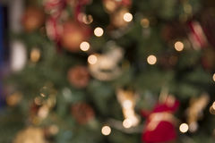 Abstract blur image of decorated pine tree on Christmas. Bokeh. Background royalty free stock image