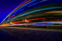 Abstract blur light trails. Beautiful night view of light trails in the city Stock Photography
