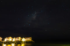 Abstract blur Milky Way over water villa cottages on Maldives . royalty free stock image