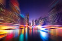 Abstract blur modern city background. Abstract blur modern cityscape background at night Royalty Free Stock Photos