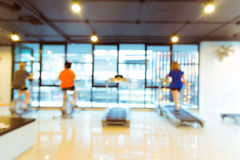 Abstract blur Modern fitness center with people Royalty Free Stock Photos