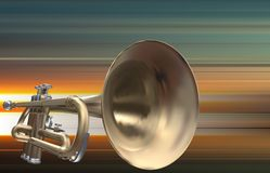 Abstract grunge background with trumpet Stock Image