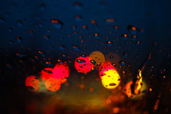 Abstract Blur of night light bokeh. Abstract Blur of vivid night light color bokeh with dew drop stock photography