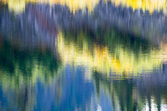 Abstract Blur Reflections Forest in Lake Water. Reflections of forest in water of forest lake stock photo