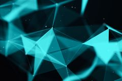 Abstract blured triangles background. Abstract bright aquamarine triangles with dark background. 3d rendering vector illustration
