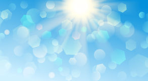 Abstract blurred background. With bokeh effect in light blue colors Stock Image
