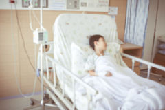 Abstract blurred background of child admitted at hospital room. Royalty Free Stock Image
