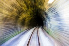 Speed moving in railway tunnel. royalty free stock photo