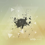 Abstract blurred background with hipster triangles. And exploding ink stains debris. Vector. For cover book, brochure, flyer, poster, magazine, cd cover design royalty free illustration