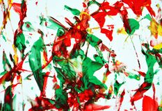 Yellow red green white paint watercolor background, watercolor acrylic painting abstract background. Abstract blurred background paint, watercolor and acrylic stock image