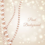 Abstract blurred background with pearl necklace. Vector illustration Stock Photo