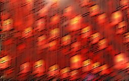 Abstract blurred background in red. With orange points and black elements stock photography