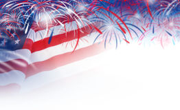Abstract blurred background of USA flag and fireworks Royalty Free Stock Image