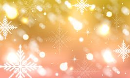 Abstract blurred background with winter design, stars, glowing elements and snowflakes. Vector illustration royalty free illustration
