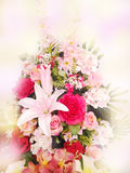 Abstract blurred beautiful orchid,rose and tulip flower soft color for background royalty free stock photography