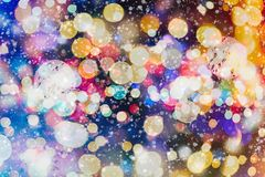 Abstract blurred of blue and silver glittering shine bulbs lights background. Christmas wallpaper decorations concept.xmas holiday festival backdrop:sparkle Royalty Free Stock Photos