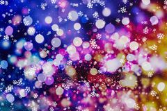 Abstract blurred of blue and silver glittering shine bulbs lights background. Christmas wallpaper decorations concept.xmas holiday festival backdrop:sparkle Royalty Free Stock Photography