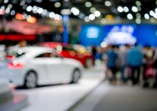Abstract blurred car showroom for advertise stock photography