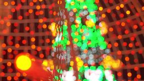 Abstract Blurred Christmas Lights Bokeh Background with Red, Green, Yellow colors. Winter Holidays Concept. stock video