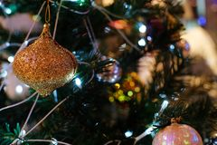 Abstract blurred of Christmas Tree bokeh background. New Year Ce royalty free stock photography