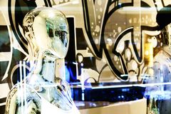 Abstract blurred Chrome human mannequin portrait photography stock images