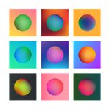 Abstract blurred collection. Vector illustration of colored circles in squares Stock Photos