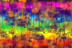Abstract blurred colorful background with the image of smear prints and paint spots, modern fantasy style of hot African sun and t. Abstract blurred colorful stock illustration