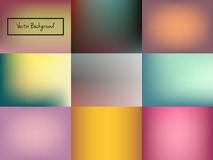 Abstract blurred colorful background. Set of nine abstract blurred colorful background. Unfocused style backdrop. Vector illustration Stock Photo