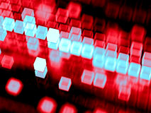 Abstract blurred cubes - digitally generated image. Abstract tech background - computer-generated 3D illustration. Fractal geometry: blurred cubes, randomly Royalty Free Stock Photo