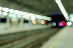 Abstract blurred electrical sky train station in city Stock Images