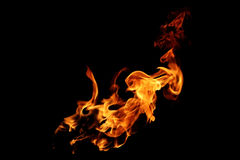 Abstract blurred fire flames isolated on black Royalty Free Stock Photos