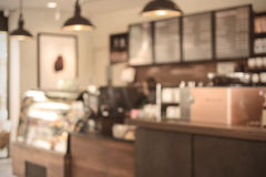 Abstract blurred image bar and counter in coffee shop Stock Photos