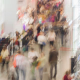 Abstract blurred image of exhibition show market and crowd people, for background usage . Abstract blurred image of shopping mall, people, exhibition - trade Royalty Free Stock Photography