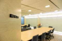 Abstract blurred image of meeting room. Abstract blurred image of empty meeting room Stock Photo