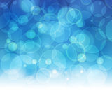Abstract blurred lights and snowflakes background with space for Stock Photo
