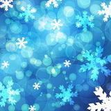 Abstract blurred lights and snowflakes background. Vector illust Stock Image