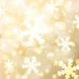 Abstract blurred lights and snowflakes background. Vector illust Royalty Free Stock Image