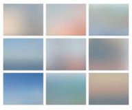 Abstract blurred ocean backgrounds set. Abstract mesh ocean blurred backgrounds set. Vector nature illustration stock illustration