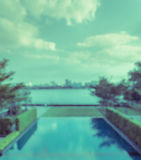 Abstract blurred outdoor swimming pool background Stock Photo
