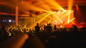 Abstract blurred - people at a rock concert royalty free stock image
