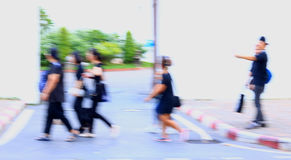 Abstract of blurred people walking on the street Stock Image