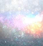 Abstract blurred photo of bokeh light burst and textures. multicolored light. Royalty Free Stock Photo