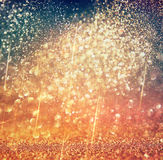 Abstract blurred photo of bokeh light burst and textures. multicolored light. Royalty Free Stock Photos