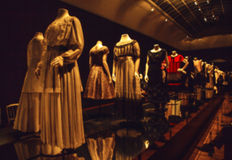 Abstract blurred photo of dummies in ancient fashionable dresses as background.  royalty free stock photo