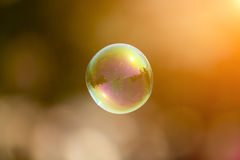 Abstract and blurred soap bubble in sunset Stock Photography