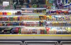 Abstract blurred supermarket aisle with shopping mall and retail royalty free stock photography