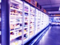 Abstract blurred supermarket store and refrigerators in department store. Interior shopping mall defocused background. Business fo. Od. Bokeh light background royalty free stock images