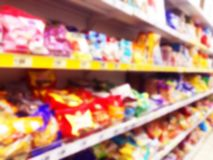 Abstract blurred supermarket store and refrigerators in department store. Interior shopping mall defocused background. Business fo. Od. Bokeh light background stock photo