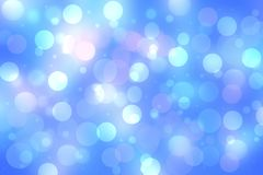 Abstract blurred vivid spring summer light delicate pastel blue pink bokeh background texture with bright soft color circles and. Glowing stars. Card concept stock illustration