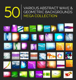 Abstract blurred waves and shiny designs set Stock Photos